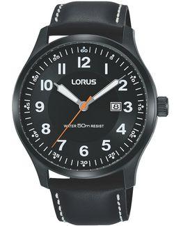 Rh941hx9 Men's Date Leather Strap Watch