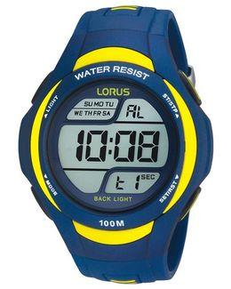 R2339ex9 Men's Digital Pu Rubber Strap Watch