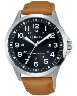 Rh933gx9 Men's Date Leather Strap Watch