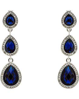 3 Crystal Clip-on Drop Earrings
