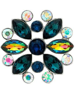 Ab Navette And Round Cut Glass Crystal Brooch