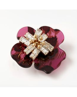 Abstract Flower Glass Brooch