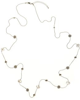 Facet Acryic Bead And Coil Bead Long Necklace