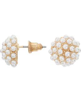 Faux Pearl Cluster Stud Earrings