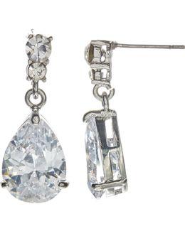 Cubic Zirconia And Teardrop Glass Drop Earrings