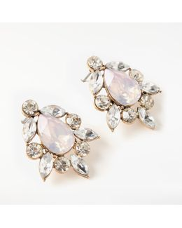Glass Crystal Cluster Stud Earrings