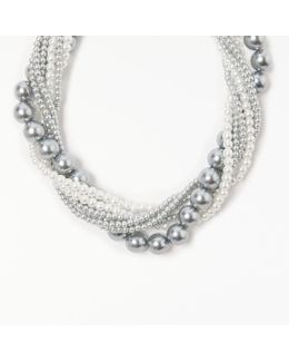 Multi Row Faux Pearl Beaded Necklace
