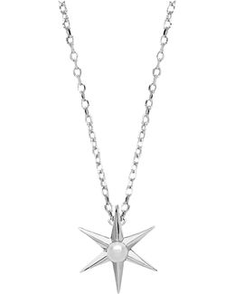 6 Point Star Pearl Pendant Necklace