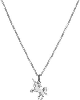 Sterling Silver Silver Life Is Magical Unicorn Pendant Necklace