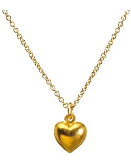 14ct Gold Plated Sterling Silver Love Puffy Heart Pendant Necklace