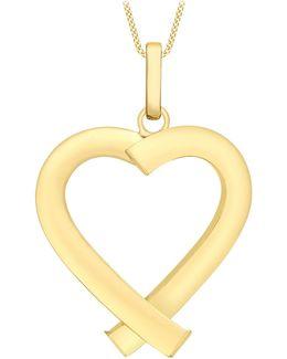 9ct Yellow Gold Triangular Tube Heart Pendant