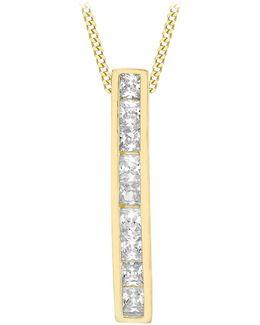 9ct Gold Cubic Zirconia Bar Drop Slider Pendant