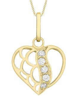 9ct Gold Cubic Zirconia Open Heart Pendant