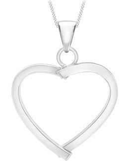 9ct White Gold Mini Square Tube Heart Pendant