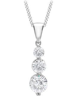 9ct White Gold Curb Chain Trilogy Pendant Necklace