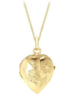 9ct Yellow Gold Heart Daisy Locket Curb Chain Necklace