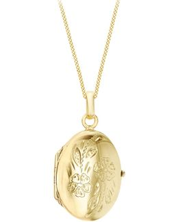 9ct Yellow Gold Daisy Oval Locket Pendant Necklace