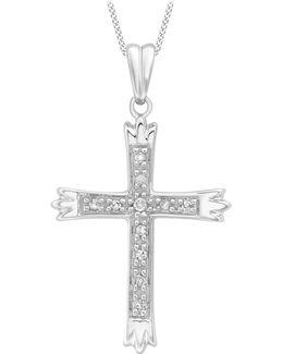 9ct White Gold Cubic Zirconia Cross Pendant