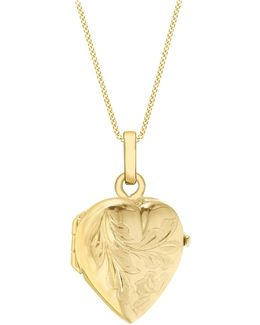 9ct Gold Flower Heart Locket Pendant Necklace