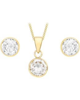 9ct Yellow Gold Cubic Zirconia Pendant And Stud Earrings Set