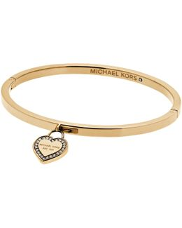 Hinge Bangle With Heart Charm