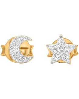 18ct Gold Vermeil Pave Star And Moon Stud Earrings