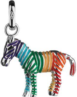 Sterling Silver Rainbow Zebra Charm