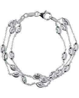 Essentials Sterling Silver Beaded Chain 3 Row Bracelet
