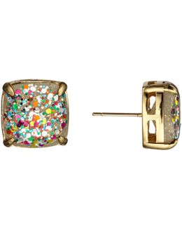 Small Square Glitter Stud Earrings