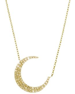 Cubic Zirconia Crescent Moon Pendant Necklace