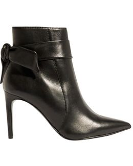 Tie Detail Stiletto Heeled Ankle Boots