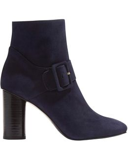 Buckle Block Heeled Ankle Boots
