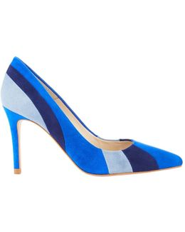 Stripe Pointed Toe Court Shoes