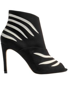 Striped Stiletto Heeled Shoe Boots