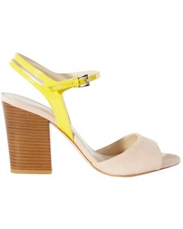 Patent And Suede Block Heeled Sandals