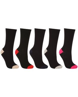 Cotton Blend Colour Block Ankle Socks