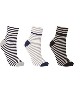 Turn Over Stripe Ankle Socks