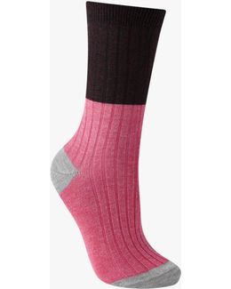 Rib Colour Block Ankle Socks
