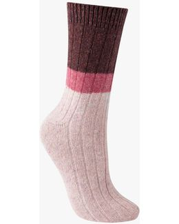 Wool And Silk Blend Ribbed Colour Block Ankle Socks