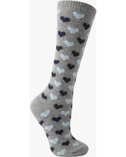 Wool Silk Mix Mini Heart Print Knee High Socks