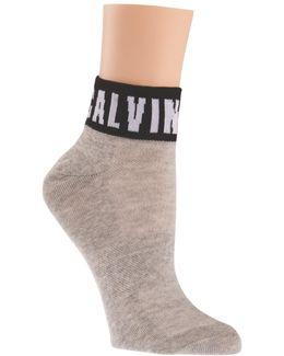 Modern Cotton Blend Logo Quarter Ankle Socks