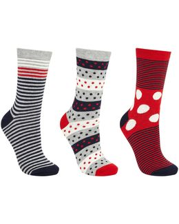 Spot And Stripe Print Ankle Socks