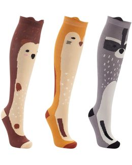 Woodland Animals Print Knee High Socks