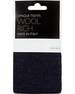 Wool Rib Opaque Tights