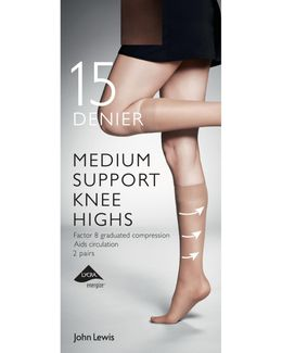 7 Denier Medium Support Knee High Socks