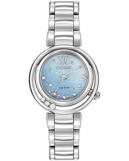 Em0320-59d Women's Sunrise Diamond And Mother Of Pearl Eco-drive Stainless Steel Bracelet Strap Watch