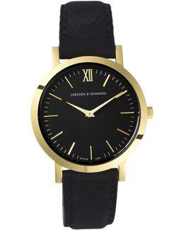 Lgn33-lblk-c-q-p-gb-o Women's Lugano Leather Strap Watch