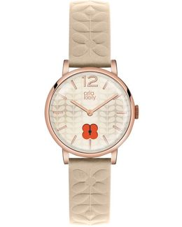 Women's Floral Stamp Dial Leather Strap Watch