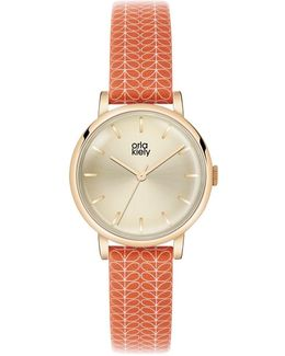 Women's Stem Print Strap Leather Strap Watch
