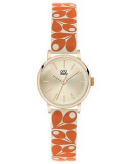Women's Plant Print Strap Leather Strap Watch